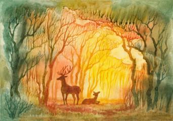 Акварель, утренний лес.