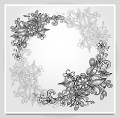 Border frame with doodle flowers in grey