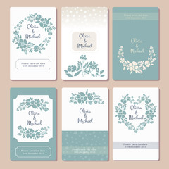 Invitation card template with flower motives