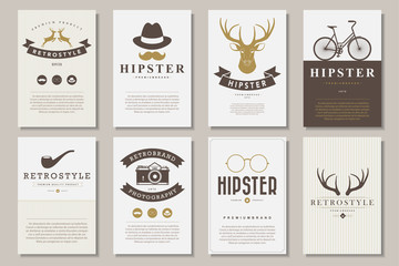 Set of brochures in vintage hipster style