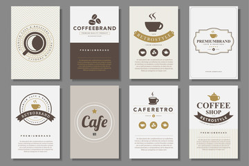 Set of coffee brochures in vintage style
