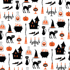 hallween witch motifs on white