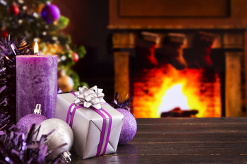 Christmas scene with fireplace and Christmas tree