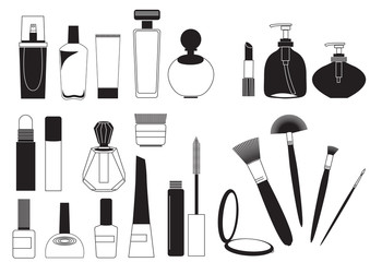 Cosmetic products .Vector collection on white for make up