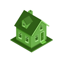 Isometric Eco Friendly House illustration Icon - A vector illustration of an ECO friendly modern house concept. Environmentally friendly home colored in green.