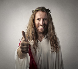 Jesus with thumbs up