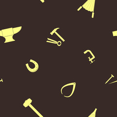 Seamless background with blacksmith tools for your design