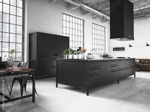 dunkle moderne k che in einem loft stockfotos und. Black Bedroom Furniture Sets. Home Design Ideas