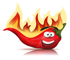 Red Hot Chili Pepper Character With Burning Flames