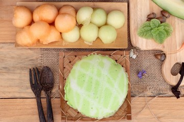 Cantaloupe melon fruit juicy and Melon cake.