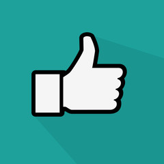social like flat icon on green background with long shadow