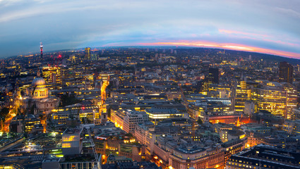 London at sunset, panoramic view with lights
