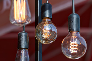 Different vintage glowing lamps.