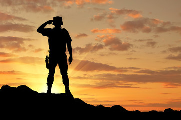 Silhouette of a soldier salutes