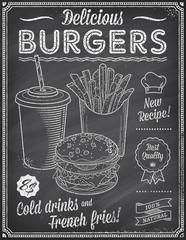 Grunge Chalkboard Fast Food Menu Template 4
