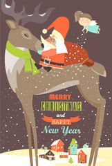Santa Claus sitting on reindeer