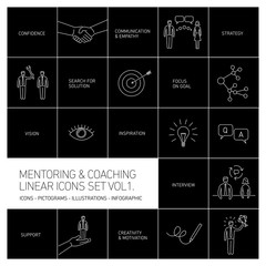 vector abstract mentoring and coaching linear icons