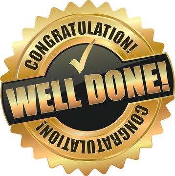 golden shiny vintage well done *3D vector icon seal sign