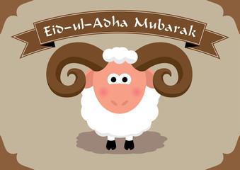 Cute sheep on seamless islamic pattern for muslim festival of sacrifice Eid-ul-Adha (Bayram) text: mubarek sacrifice holiday