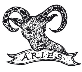 Hand drawn Aries horoscope sign with banner