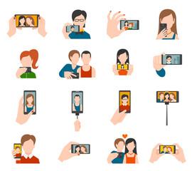 Selfie Icons Flat