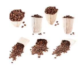 set of coffee beans in the bag isolated
