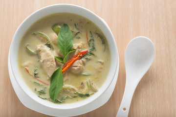 Thai cuisine and popular food, Green curry with chicken and eggp