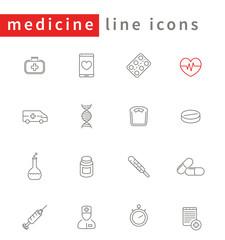 medicine, health care, pharmaceutics line icons pack, vector illustration
