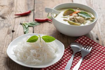 Thai rice vermicelli with green curry chicken , Thai cuisine