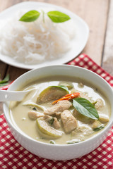 Close up, Green curry chicken with thai rice vermicelli , Thai c