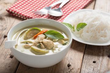 Green curry chicken with thai rice vermicelli , Thai cuisine.