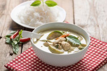 Green curry chicken with thai rice vermicelli , Thai cuisine.