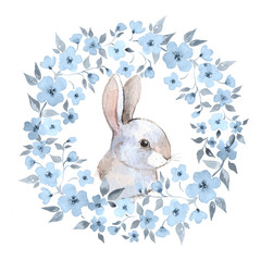 White rabbit 2. Rabbit and floral wreath. Watercolor illustration in vector