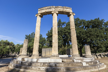 remains of the Philippeion at Olympia in Greece
