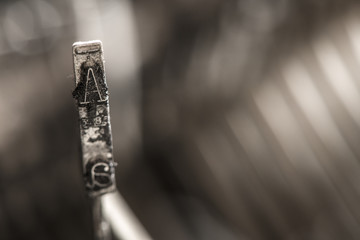 Plate letter A on a typewriter