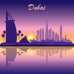 Dubai skyline silhouette on sunset background