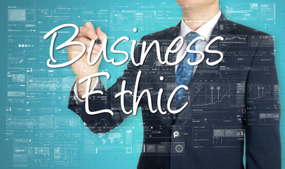 businessman writing Business Ethic