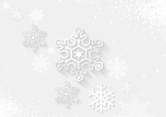 White Christmas Greeting with Snowflakes - Background Illustration, Vector