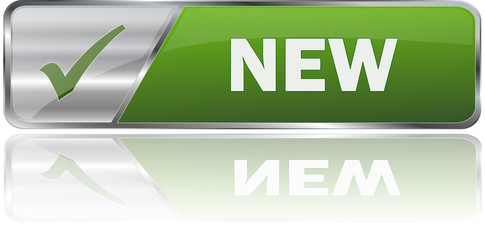 NEW / realistic modern glossy 3D vector eps banner in green with metallic border and checkmark