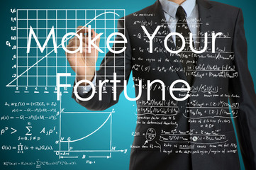 businessman writing on virtual screen with business or technolog