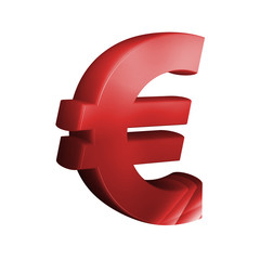 beautiful red 3d font. Euro Sign.