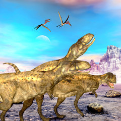 Abelisaurus Dinosaurs - Abelisaurus theropod dinosaurs hunt for their next prey as three Zhejiangopterus reptile birds follow them.