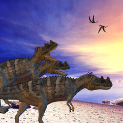 Ceratosaurus on the Prowl - Ceratosaurus dinosaurs search the beach for prey as two Dorygnathus flying reptile pass overhead.