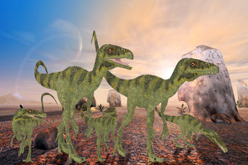 Juravenator Dinosaurs - A family of Juravenator dinosaurs cross a desert area looking for a better habitat to hunt prey.