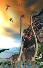 Omeisaurus Dinosaurs - Dorygnathus dinosaur reptiles fly over two Omeisaurus dinosaurs walking along a steep cliff.
