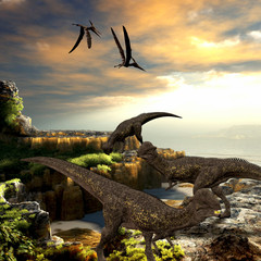 Stegoceras Dinosaurs - Stegoceras dinosaurs eat the vegetation along a rocky coast as Pteranodon reptiles fly overhead.