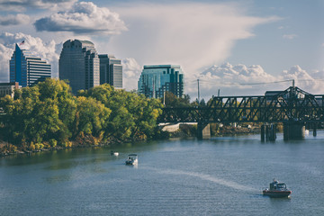 Landscape View of Sacramento River Bridge and Downtown Skyline