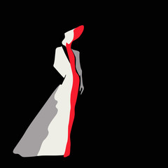 Abstract sketch of the model in a coat (white, red, black) and a hat, fashion, logo