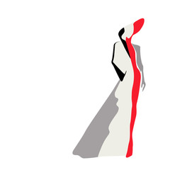 Abstract sketch of the model in a coat (white, red, black) and a hat, fashion, logo, Isolated on white background