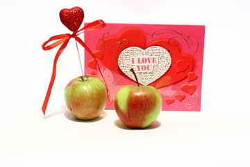 two apples with heart and Valentine